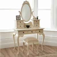 Meja Rias Jati Model Klasik Warna Putih, Meja Rias Anak