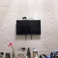 Wallpaper Foam dinding bata putih 3D White Brick Panel