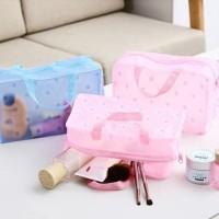 Tas Kosmetik / Dompet Make Up WaterProof Transparan Warna warni