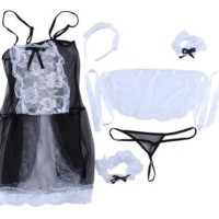 Amelia Lingerie Sexy Costume French Maid Kostum Pelayan Cosplay Lace
