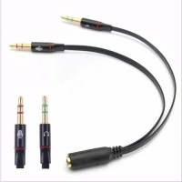 Splitter Mic + Ear Audio Jack 3.5mm Female ke Dual 3.5mm Male HiFi