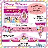 1 set undangan Ultah Anak/Kartu souvenir/topi ulang tahun Princess