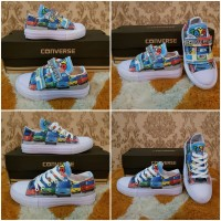 Sepatu All Star Converse Kids/Anak Tali/Velcro Motif Bus Tayo Murah