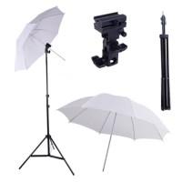 Paket Studio Light Stand 190cm + B Bracket + Payung Transparan 80cm