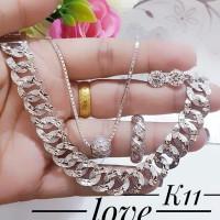 xuping set perhiasan kalung gelang cincin lapis emas putih 24k