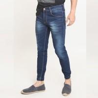 2Nd RED Jogger Jeans Pria Biru Tua Bahan Elastis 112606