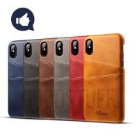 Premium Card Slot Leather Case iPhone 10/X/XR/XS/Max casing hp kulit