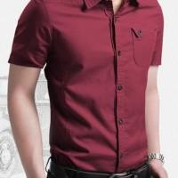 Kemeja Pria lengan pendek warna maroon