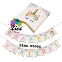 Banner happy birthday / bunting flag ulang tahun unicorn sparkling