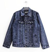 Scape Gear Storm Denim Trucker Jacket Jeans Jaket Pria Sand Acid Wash
