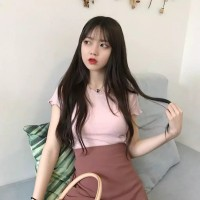 TShirt Wanita Lengan Pendek Model Simple Slim Longgar Warna Polos