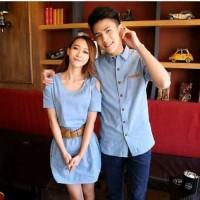 Baju Couple - Kemeja Dress Denim Gesper