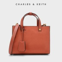 SAG4351 oRaNGE Charles and Keith Strutured Top Handle Bag