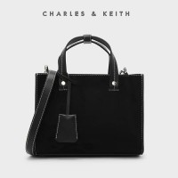 SAG4351 BLacK Charles and Keith Strutured Top Handle Bag