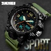 Jam Tangan Pria Dual Time SKMEI Sport Original Anti Air 1327 - Green