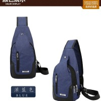 Tas Selempang Anti Air USB Sling Bag Canvas Import Quality | CS-TK 18