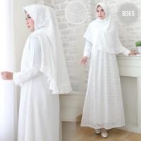 Baju Gamis Wanita / Gamis Jumbo / Muslim Putih #8065 G JMB