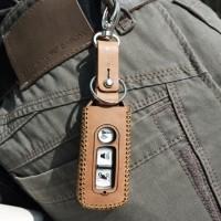 Cover Case Kulit Remote Keyless Honda PCX 150 Terbuka Coklat