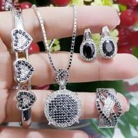 xuping set perhiasan kalung gelang cincin lapis emas putih 24k 30108