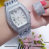 jam tangan wanita plus cincin mewah lapis emas putih 24k terlaris 3019