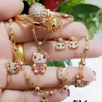 xuping set perhiasan anak kalung gelang cincin lapis emas 24k 30110