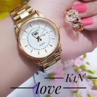 jam tangan wanita plus cincin lapis emas 24k terlaris 3021