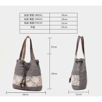 Korea Flower Canvas Shoulder Bag / Tas Travel Kanvas Pundak