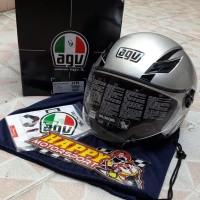Helm half face merk AGV Blade Solid Silver size M (SNI)