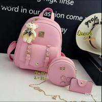Tas Ransel Wanita Amora Backpack Paket 4in1 - Cokelat Muda