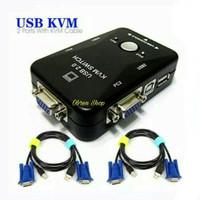 KVM Switch USB 2 Port Manual + 2 Pcs Kabel KVM