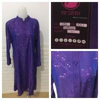 Baju Long Dress Bisa Gamis Ungu Cotton Jepang Bigsize Fit XL XXL