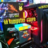 RAKITAN AMD RYZEN 5 2600 & GTX 1060 6GB & MB X370M-H RAM 16G PC CPU R4