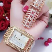 jam tangan wanita plus cincin lapis emas 24k 3102