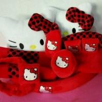 sarung jok 18in 1mobil universal motif hello kitty merah