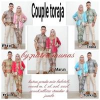 Baju Batik Kebaya Couple Taroja Set Hem Kemeja Cowok Lengan Pendek
