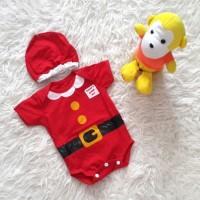 import Baju Bayi Jumper Bayi Merah Kostum Natal Santa Set Topi