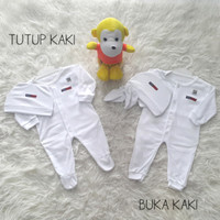 Sale Jumper/Jumpsuit/Sleepsuit Baju Bayi Putih Set Topi