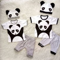 import Baju Bayi Setelan Anak Panda Set Topi
