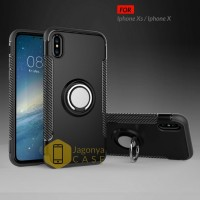 Case Iphone X / Iphone Xs Ultimate Carbon Ring Kickstand