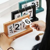 Pelender Coklat | kalender calendar meja unik cantik shabby kayu hias