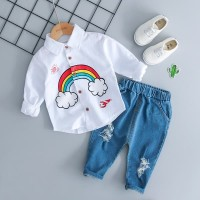 baju setelan Anak Cowok Kemeja BIRU/PUTIH Rainbow &Celana Ripped Jeans