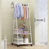 Triangle stand hanger baju rak buku pakain rak serbaguna dengan 4 roda - Hitam