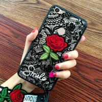 Luxury 3D Relief Flower Rose/Bunga Mawar Merah Case Oppo F5/Plus/Youth