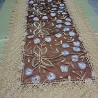 Brown Brukat Lace Unik Import / Taplak Meja Tamu Borkat