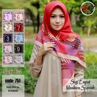 Jilbab Segi Empat Satin Motif Bunga - seri : AZARA 04