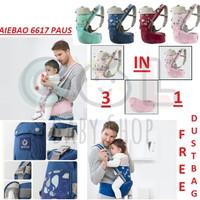 Gendongan Bayi Baby Carrier multifunction 11 in 1 Hipseat aiebao 6617 - 0-36 Bulan, Hijau Tosca