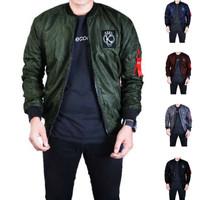Jaket bomber pria kent full patch hijau green army original