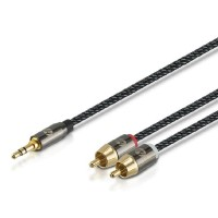 HP PRO EDITION AUX 3.5mm to 2 RCA cable kabel M-Y 1.5M - Hitam