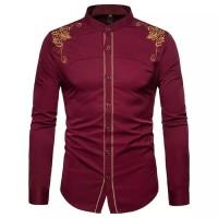 Kemeja pria katun stretch bordir maroon/ Pakaian Pria