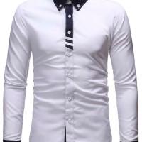 Kemeja pria katun stretch lengan panjang putih/ Pakaian pria/ termurah